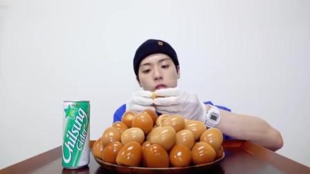 韩国吃播,一大盘的茶叶蛋,营养是真高
