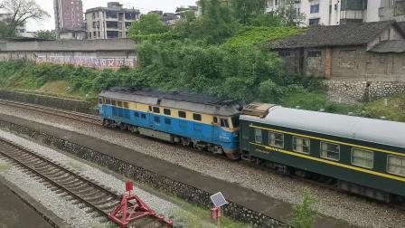 北湘桂DF4D乌克兰牵引旅游专列通过兴安站南弯道