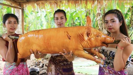 柬埔寨农村巧妇,准备了一头猪、螃蟹和虾,看看她们是什么吃法