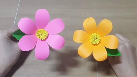 DIY剪纸教程,简易纸花的制作方法,室内装饰的手工艺品!