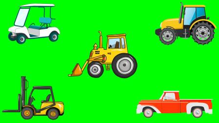 小七识汽车  大型推土机 叉车等5种大型工程车汽车