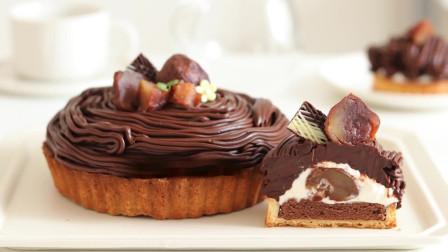巧克力勃朗峰蛋挞 咖啡馆经典甜品,外形酷似雪山的栗子蛋挞