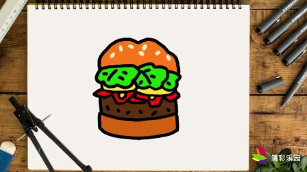 简单易学的汉堡包简笔画 - 一步一步教你画