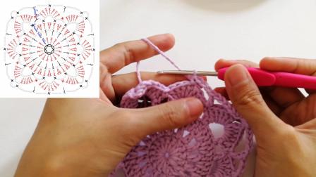 手工钩针编织单元花片,图解分解,详细教程,适合新手学习
