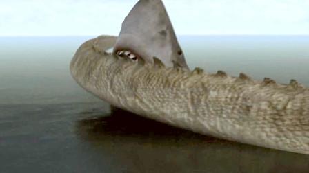 史前巨鳄与巨型鲨鱼碰面,双方一旦激战,就能引发海啸!