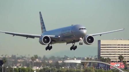 美国航空波音777大型客机降落洛杉矶机场,一次完美的降落
