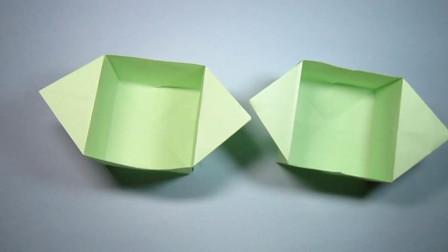 手工折纸,收纳盒的折法,一张长方形纸快速就能折出来