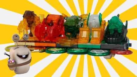 爆裂飞车3 五车合体战队 变形汽车对战玩具