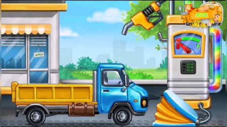 驾驶大货车搬运材料建房子 工程车装载车组装拼装