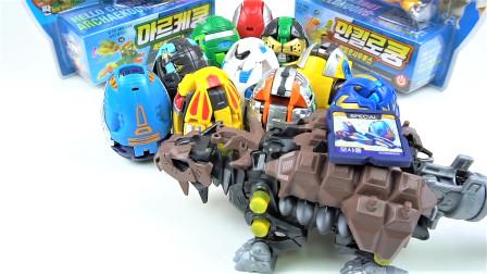 12辆韩国变形金刚Hello Carbot弹跳恐龙蛋变形机甲玩具开箱展示