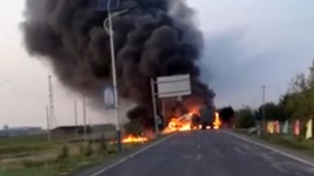 乙醇挂车与集装箱挂车相撞起火 引燃4车致2死