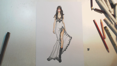 服装手绘上色技巧   性感的单色斑点裙