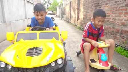 孩子们假装在孩子们的教育视频中扮演医生和交通标志