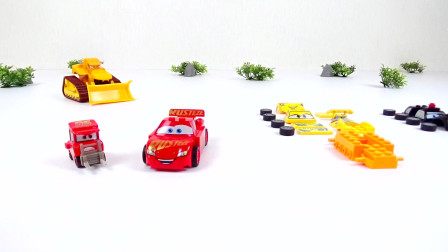 组装迪斯尼汽车3个儿童玩具
