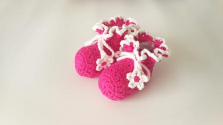 手工钩针编织教程准宝妈学起来哦新生儿女婴可爱玫红色毛线小鞋毛线编织教程钩法