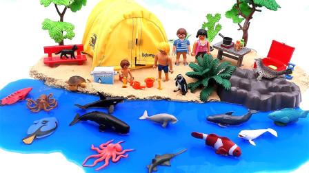 好玩的太空沙DIY孩子们的海滩夏令营和海洋动物玩具鲨鱼龟