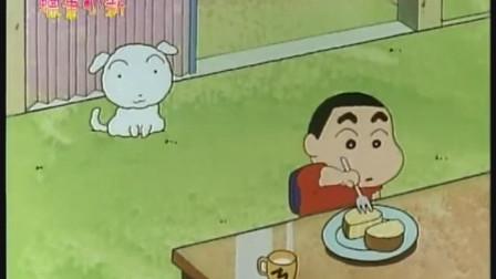 小新把小白带回了家,自己吃起了蛋糕,小白在旁边看着很眼馋