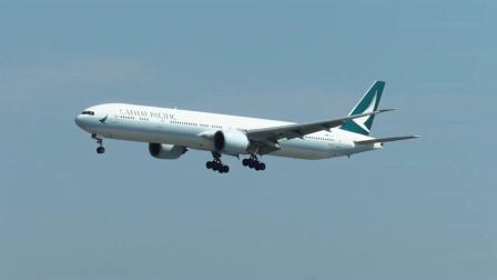 实拍国泰航空波音777客机降落洛杉矶机场