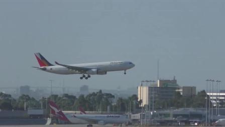 实拍韩亚航空A330客机降落墨尔本国际机场