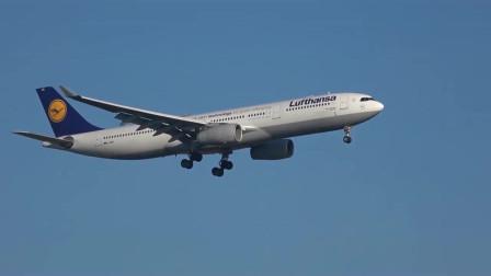 实拍汉莎航空A330客机降落慕尼黑国际机场