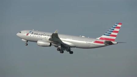 实拍美国航空A330客机曼彻斯特机场起飞