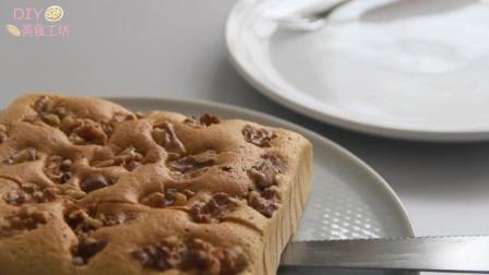 「烘焙教程」核桃咖啡海绵蛋糕,妈妈再也不怕我没有早餐吃