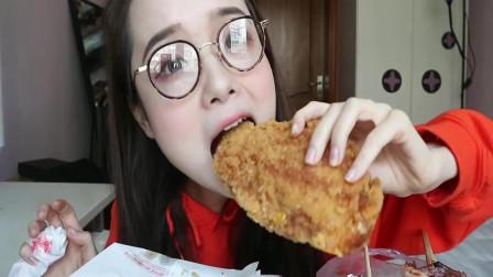 吃播哎哟阿尤,吃爆浆芝士大鸡排+铁板大鱿鱼,看着我都饿了!