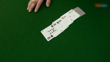 出老千想看赌神底牌,结果折腾半天,最后开牌是同花顺