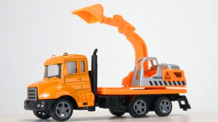小汽车玩具:回力工程卡车式挖掘机