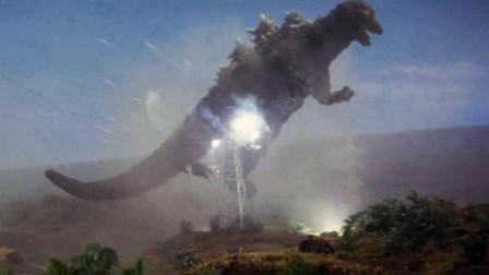 哥斯拉被大鸟抓到天上,又被扔掉,撞在了高压线塔上