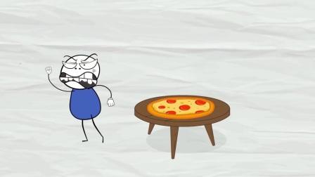 儿童卡通片:小小铅笔人的披萨被小虫子偷吃了