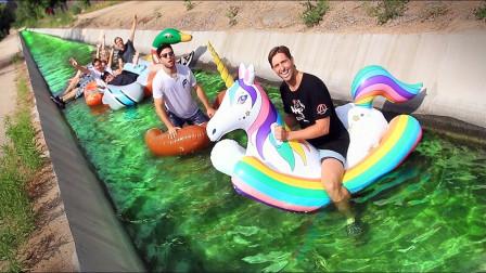 國外小哥挑戰在公共排水溝里玩漂流網友你確定這水里不臟嗎