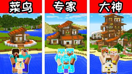 我的世界 菜鸟vs专家vs大神,看看谁建的房子最具有热带风情