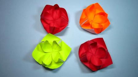 手工折纸,睡莲的折法,一张纸2分钟就能轻松学会