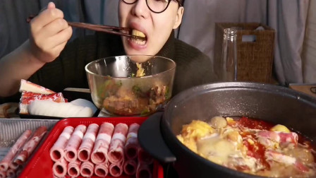 吃播大胃王:今天吃肥牛肥羊双拼火锅,大口吃肉,就是爽!