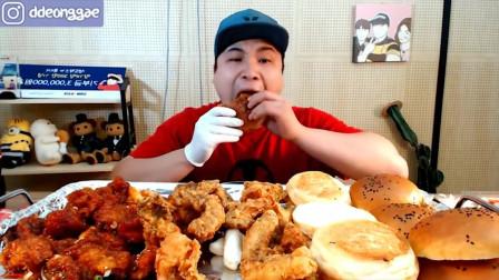 韩国大胃王胖哥吗,吃自制鸡腿堡,这汉堡真实在
