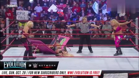 WWE 性感美女4人在台上互相撕,观众都看呆了