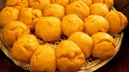 南瓜包原来这么容易做,农村小伙首次做包子味道就很棒,太简单了