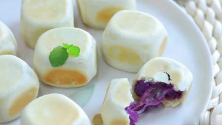 烘焙教程:紫薯爆浆芝士仙豆糕