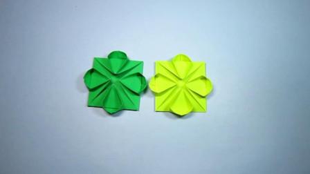 手工折纸,四瓣花的折法,简简单单几分钟就能学会