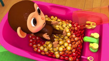 宝宝学颜色, 猴宝宝通过小糖果, 染料和踢足球认识颜色
