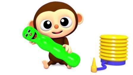 宝宝学颜色, 猴宝宝玩不同色彩的气球, 还有笑脸, 好可爱