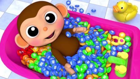 宝宝学颜色, 猴宝宝坐过山车玩不同色彩的小糖果