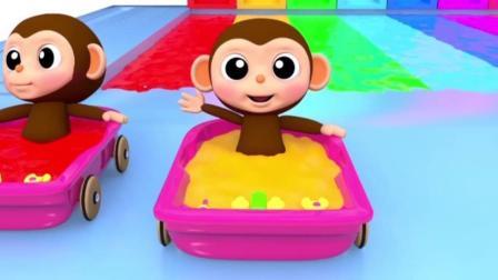宝宝学颜色, 7个猴宝宝在不同色彩的水滑道玩耍, 亲子早教