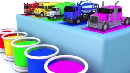 宝宝学颜色, 给各种车染上漂亮的不同色彩, 亲子早教