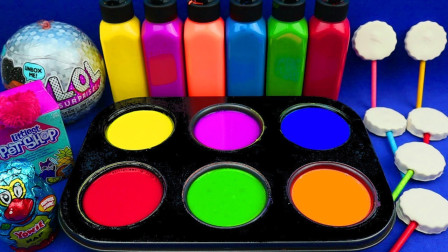 【玩具果冻】用惊喜玩具制作闪光糖果冰淇淋!学习颜色及英文名称