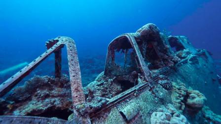 潜水拍摄二战时期飞机残骸