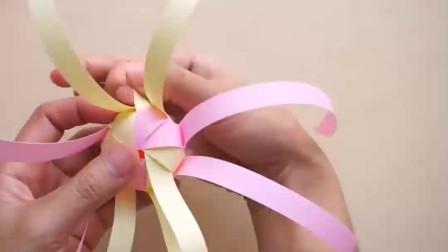 彩带编制教程,小花灯笼的制作方法,手工难度2颗星!