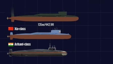 世界各国服役的核潜艇大小尺寸对比,俄罗斯占据第一,实力大国