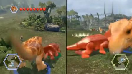 乐高侏罗纪世界,暴龙与三角龙搏击,自由漫游游戏!
